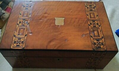 Victorian Walnut & Parquetry Inlaid Writing Slope, Original Condition READ