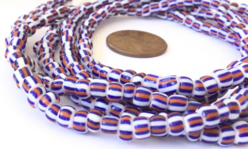 Fine vintage Opaque Blue White Red matching 4mm glass beads Trade Beads-Ghana