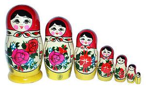 7 RUSSIAN STACKING TRADITIONAL MATRYOSHKA DOLLS/SEMENOVO/RED SHAWL/16 cm/ 6.5''