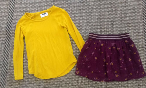 Girls Old Navy Outfit Size 6-7 - Mustard Sweater w/Skirt EUC