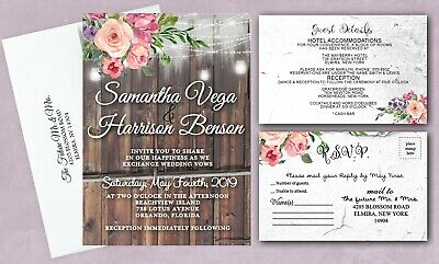 Wedding Rsvp Cards (Wedding Invitations Personalized RSVP Cards Invites and Guest Cards Set of)