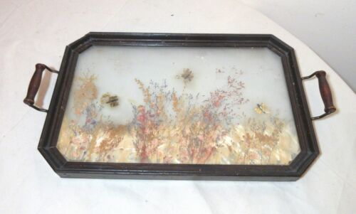 antique handmade real flower art diorama wood brass serving tray platter glass .