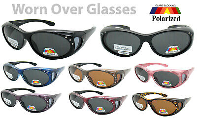 Rhinestone ANTI GLARE POLARIZED Sunglasses Worn Fit Over RX Glasses Wear (Drive Wear Sunglasses)