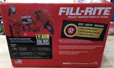 Fill-rite Fr1210g 12v Dc High-flow Fuel Transfer Pump Nozzle Hose - 15 Gpm New