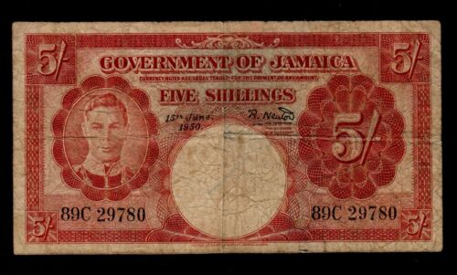JAMAICA  5 SHILLINGS 1950  PICK # 37a  VG.