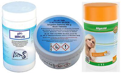 Classic Set Multi Chlor 10-18 m³ BLUE TAB 5 ACTION pH Minus Chlortabletten Classic Blues Tabs