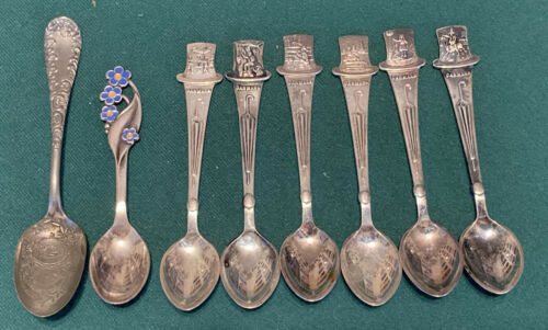 Lot of 8 Vintage Collectible Demitasse Spoons from Denmark - Silver Plated