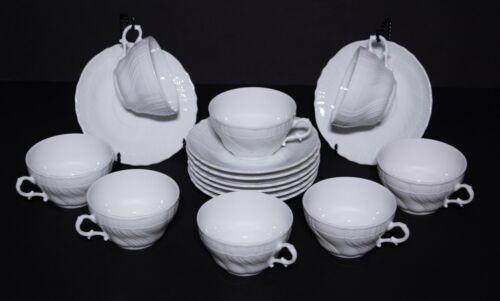 Richard Ginori Bianco White Vecchio Cups and Saucers (8)
