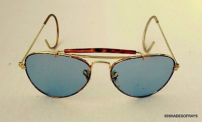 BEEFY 14k Gold Aviator Shooting Glasses Sunglasses Clear Lens RETRO AVIATORS