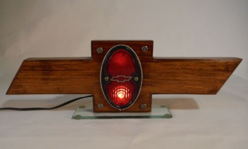 Vintage Chevy Bowtie Lighted Sign 1934 Chevrolet Truck Taillight Handmade Oak