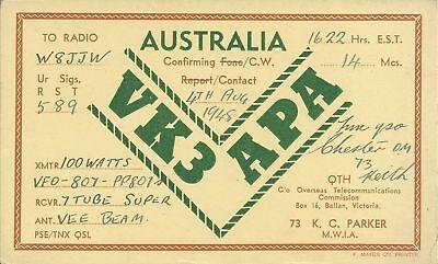 OLD VINTAGE VK3APA AUSTRALIA AMATEUR RADIO QSL CARD