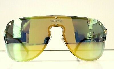 Versace Shield Pilot VE2180 Yellow Lenses Sunglasses New and (Versace Yellow Sunglasses)