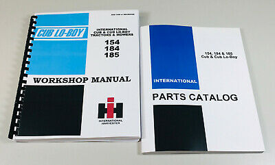 International 154 184 185 Cubcub Lo-boy Tractor Mower Service Parts Manual Set