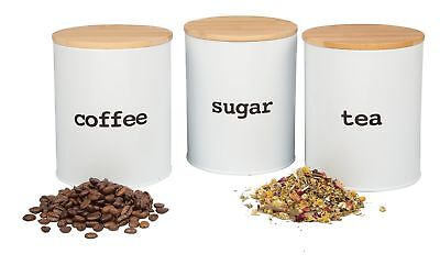 Kitchen Canister Set with Air Tight Bamboo Lids- 3 Food Storage Containers for