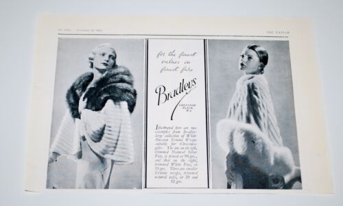 Vintage 1935 Bradleys White Russian Ermine Fur Wraps Print Ad