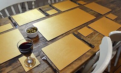 ARTISAN GOLD Bonded Leather 6 PLACEMATS, 6 COASTERS & TABLE RUNNER DINING SET