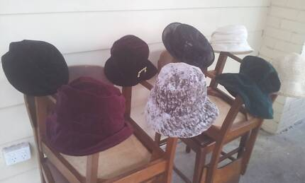 Sixteen hats - velvet, straw, wool - (less than 50 cents each!) Blackwood Mitcham Area Preview