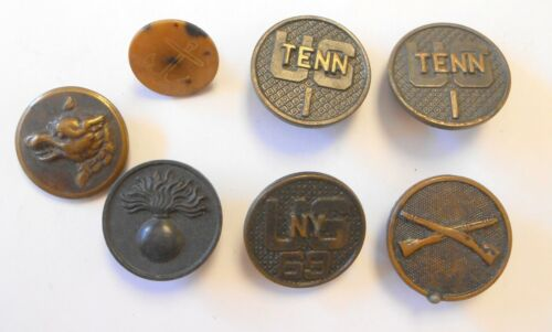 7 WW1 Collar Disc & Buttons Flaming Bomb Infantry US New York 69th Tennessee 1st