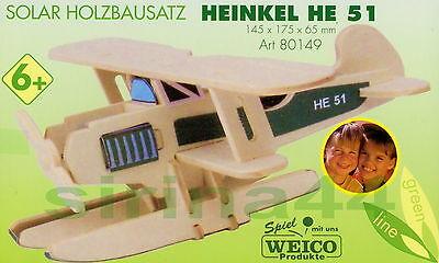"""3D-Puzzle Holzbausatz Wasserflugzeug """"Heinkel HE 51"""" Holz m.Solarmotorset ab 6J."""