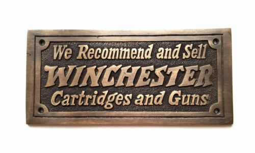 Winchester Cartridges And Guns Solid Brass Plaque With Antique Finish