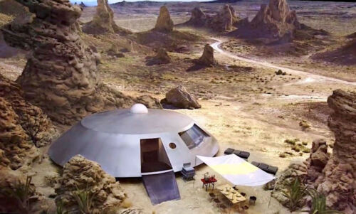 1965's LOST IN SPACE planet campsite aerial view color 6x10 scene