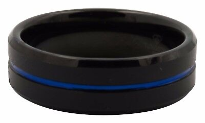 Mens Black Tungsten Carbide Blue Inlay Retail $270 8mm Wedding Band Size 12.5 Contemporary Design Wedding Ring