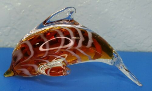 Vintage Art Glass Hand Blown Amber and White Dolphin Statue Figurine