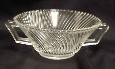 Clear Cream Soup Bowl (Depression Glass Federal Diana Clear Cream Soup Bowl Angled Handles)