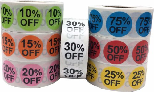 Percent Off Retail Sale Stickers, 3/4 Inch Round, 500 Total Labels, 15 Choices