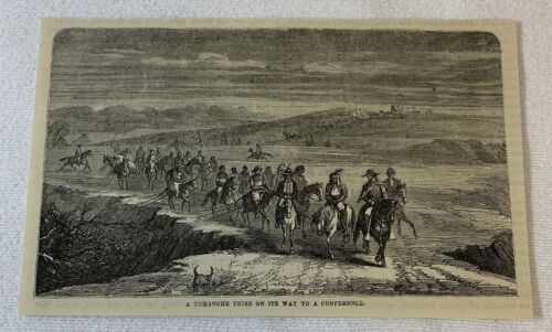 1882 magazine engraving~ COMANCHE TRIBE ON ITS WAY TO A CONFERENCE