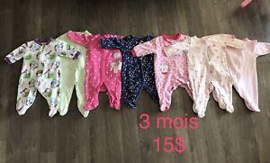 Pyjamas de filles - 3 mois