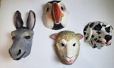 Vintage Animal Halloween Masks (Vintage Dairy Animal Mask Lot 1900s Halloween Dress Up Costume)