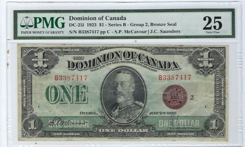 1923 $1 Dominion of Canada Currency DC-25i Bronze Seal PMG VF 25