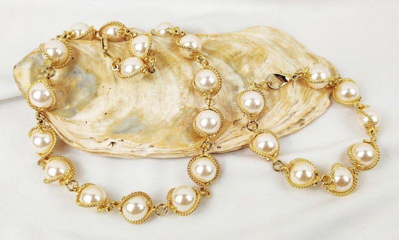 "Beautiful Faux Pearl Necklace (16"") Bracelet (7.5"") Set Gold Tone Leaf Design"