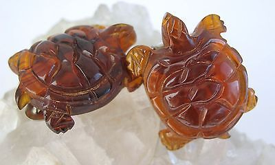 Carved Bakelite Turtle Dress Shoe Clips Vintage Set Faux Tortoise Shell Amber