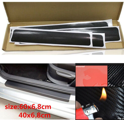 Car Parts - 4X Accessories Carbon Fiber Car Door Plate Sill Scuff Cover Anti Scratch Sticker