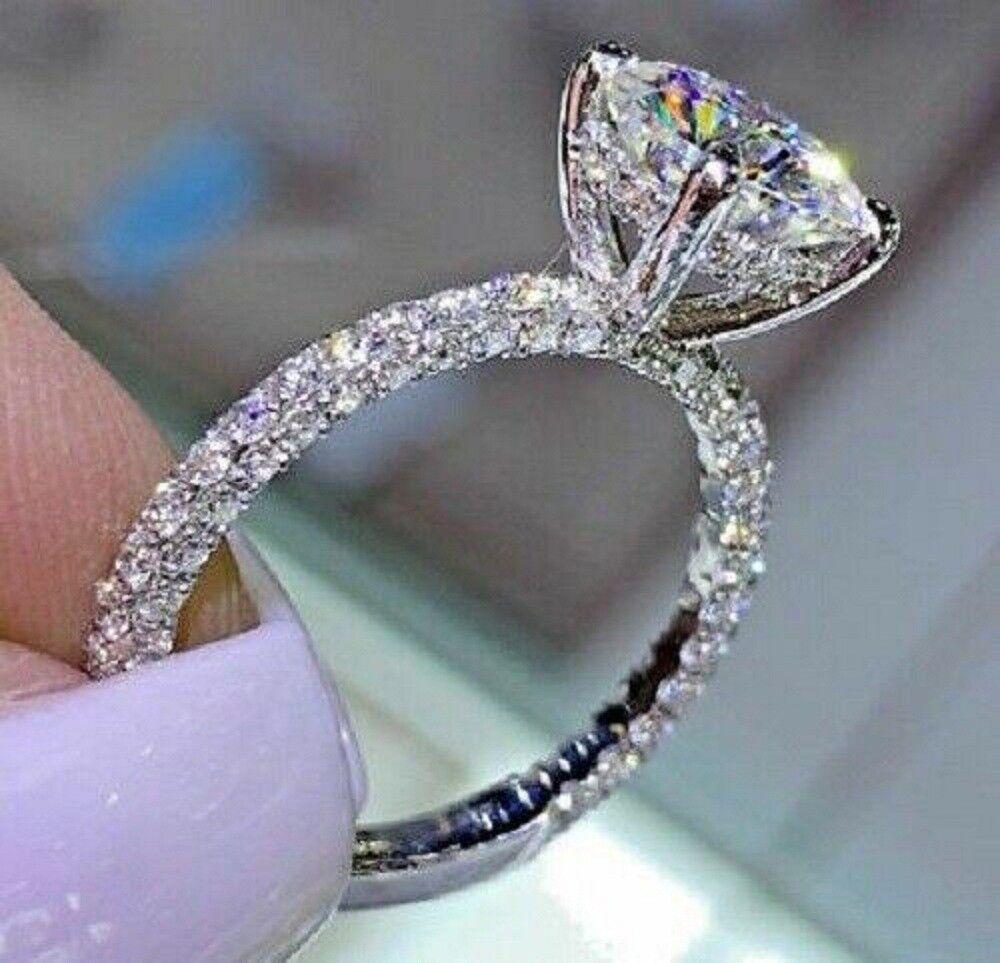 10K White Real Gold 2.50 Ct Diamond Engagement Wedding Ring