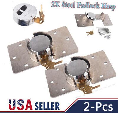 2pcs 73mm Round Puck Lock Hidden Shackle Utility Van Door Steel Padlock W Hasp