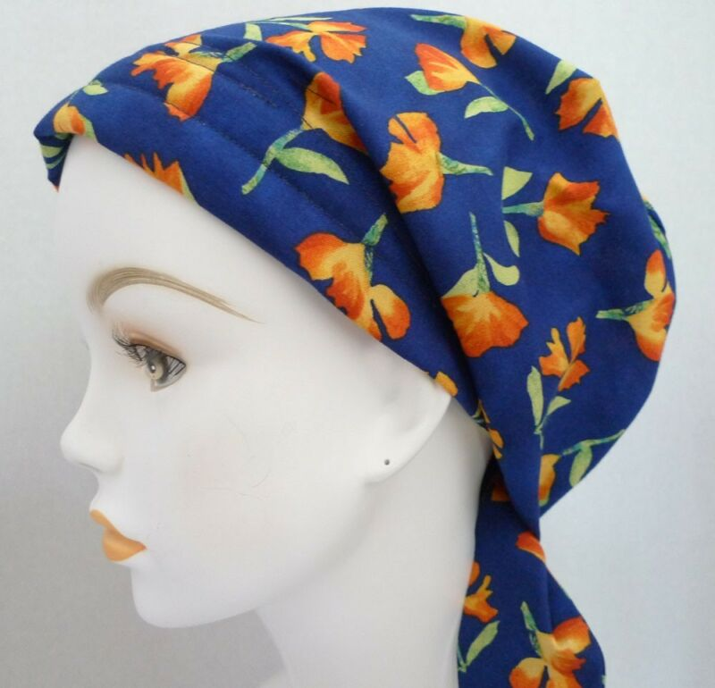Royal Blue Floral Chemo Cancer Hair Loss Turban Hat Alopecia Cotton Head Scarf