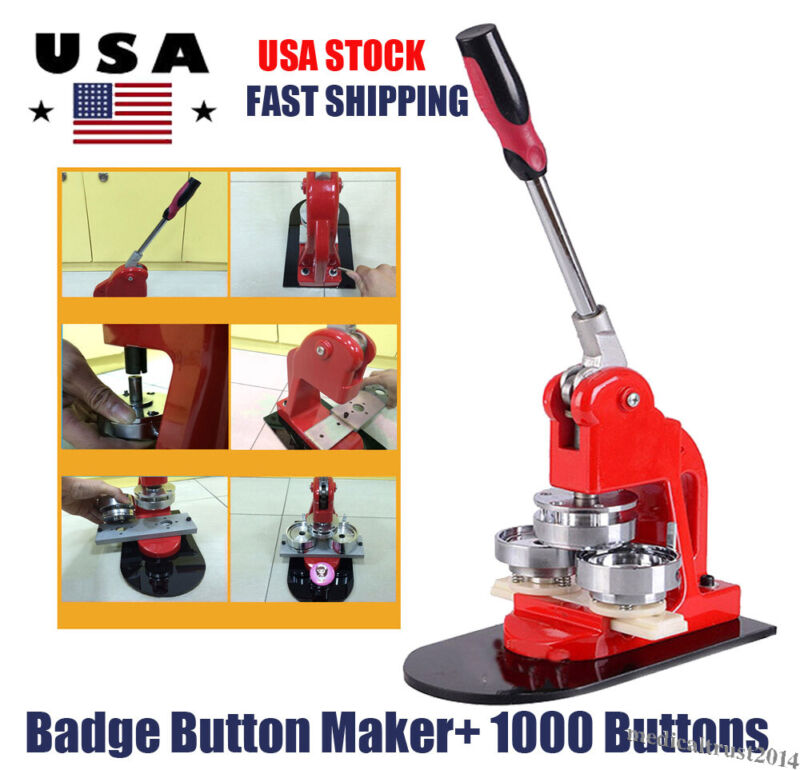 25mm Button Maker Badge Punch Press Machine 1000 Pin Parts +Circle Cutter Kit