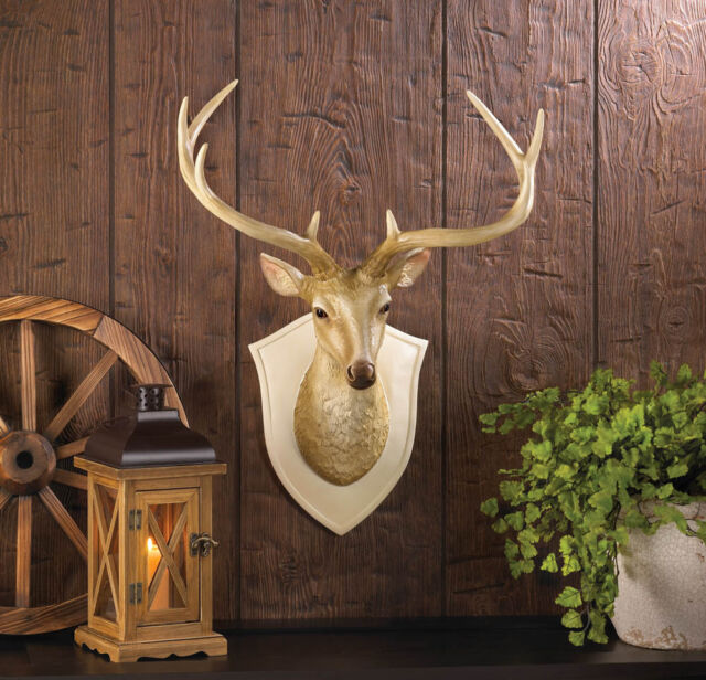 DEER BUST WALL DECOR Sculpture Mounted Faux Deer Head Hunting Animal Decor  NEW! - Deer Head Wall Mount Bust Art Antlers Buck Sculpture Faux