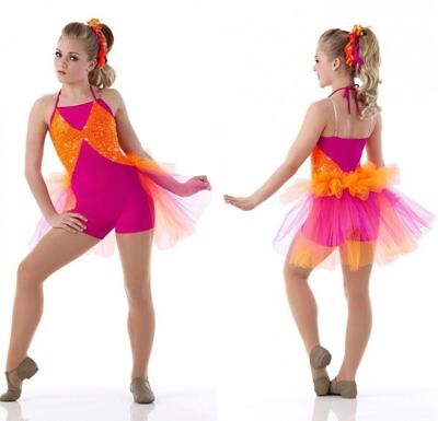 Super Bass Dance Costume Unitard w/ Backskirt Tap New Clearance Child & Adults - Bass Costume