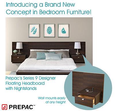 Prepac Series 9 Designer 2-Piece Platform Storage Bed and Headboard Bedroom Set -