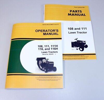 Operators Parts Manuals For John Deere 108 111 Lawn Tractor Catalog Sn 285001-
