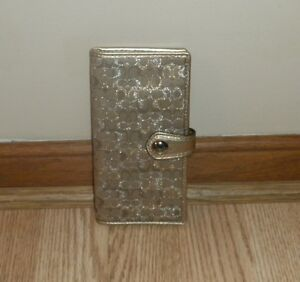 NWT COACH 8CM LUREX MULTI CARD CHECKBOOK WALLET F48724 Gold