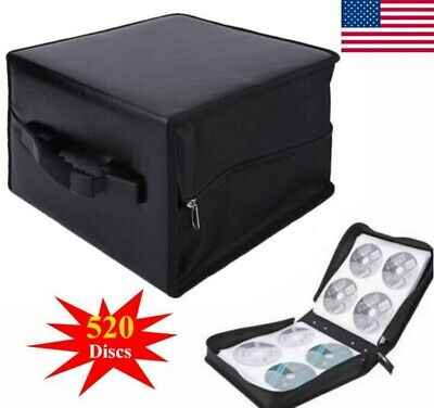 520 Discs CD DVD Storage Box Wallet Holder Binder Book Carrying Case Bag Black
