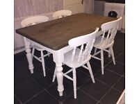 Beautiful solid farmhouse table and 4 chairs