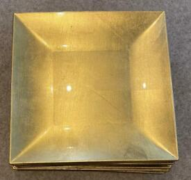 9 x Square Gold Food Plates