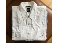 Western style shirt by Gap. White. Ivory colour press stud / fasteners. Large.