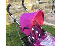 ::::::: MAMAS & PAPAS Pink Swirl Pushchair with Rain cover :::::::